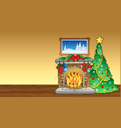 christmas card with fireplace 1 vector image