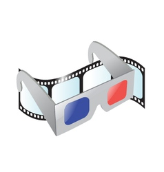 Cinema 3d glasses and film vector