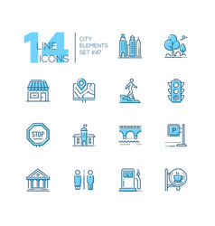 city elements - set of line design style blue vector image