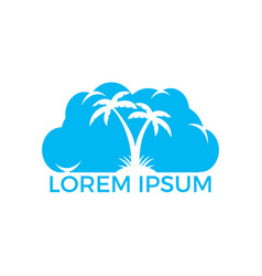 cloud and palm tree logo design vector image