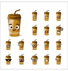 Collection of difference emoticon beverage drink vector