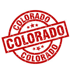 colorado red round grunge stamp vector image