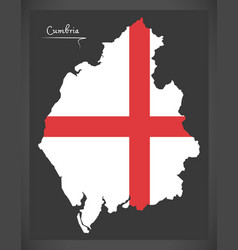 Cumbria map england uk with english national flag vector