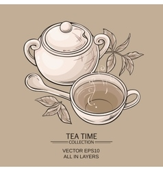 Cup of tea and sugar bowl vector