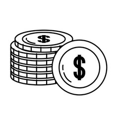 Currency money coin stack isolated black and white vector