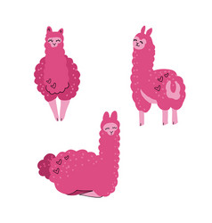 cute llama set for design tree alpacas childish vector image
