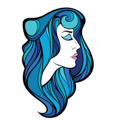 decorative portrait of beauty woman with blue vector image
