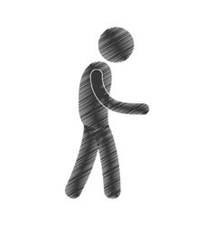 Drawing man walking side view figure pictogram vector