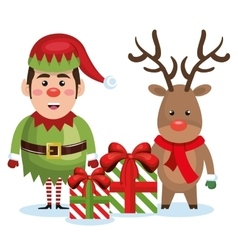 elf reindeer with gift box christmas vector image