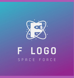 F initial space force logo design galaxy rocket vector