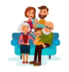 Family with children sitting on couch vector image