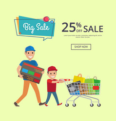 father and son making shopping with trolley cart vector image