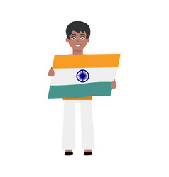 Flat indian boy kid standing holding national flag vector