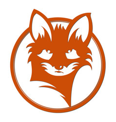 fox silhouette logo red fox in a circle vector image