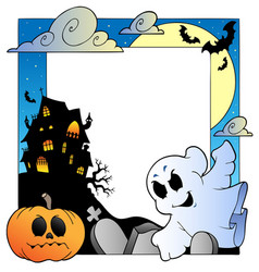 frame with halloween topic 1 vector image