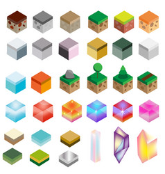 Game assets isometric texture bricks and magic vector
