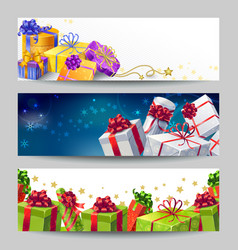 Gift Boxes Banner Set vector