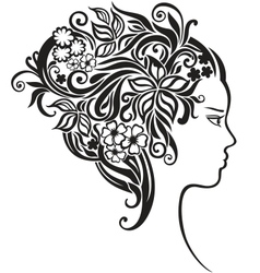 Girl with a beautiful flowers in her hair vector image