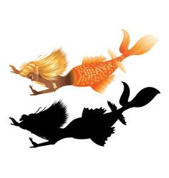 Gold fish tail mermaid vector