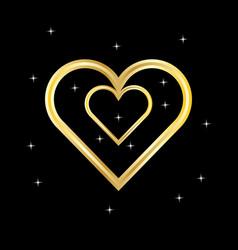 gold heart logo vector image