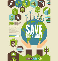 Green energy eco banner for ecology concept vector