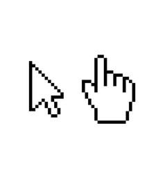 hand cursor mouse icon cursor pixel pointer arrow vector image