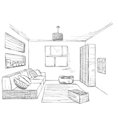 Hand drawn room interior Furniture sketch vector image