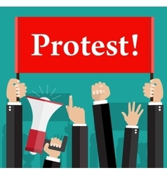 Hands holding protest signs and bullhorn vector
