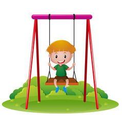Happy boy on swing vector