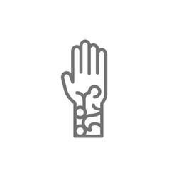 Henna tattoo on arm mehndi line icon vector