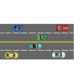 Highway and moving cars vector