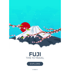 Japan fuji time to travel travel poster vector