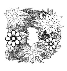 letter d dudling drawing mandala vector image