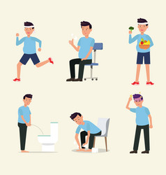 man flat character activity healthy life style set vector image