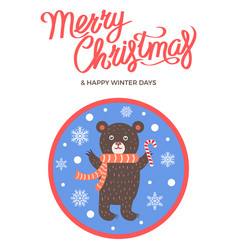 merry christmas icon of bear vector image