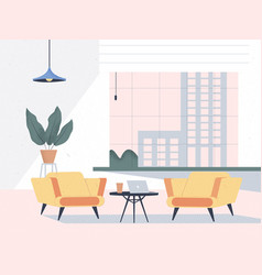 Modern interior office room and cityscape vector