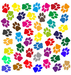 multi-colored traces of animals vector image