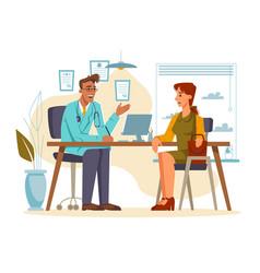 patient listening to specialist in doctors office vector image