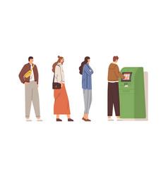 people standing in queue to withdraw cash money vector image