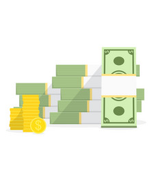 Pile cash with stack golden coins big money vector