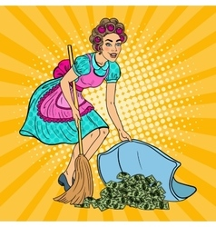Pop Art Young Housewife Hiding Money Under the Rug vector