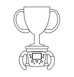 racing chmapionship trophy cup black and white vector image