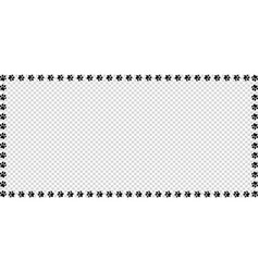 Rectangle frame made of black animal paw prints vector