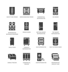 Refrigerators flat glyph icons fridge types vector