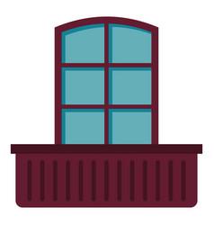 Retro window and flowerbox icon isolated vector