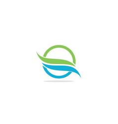 Round wave eco flow logo vector