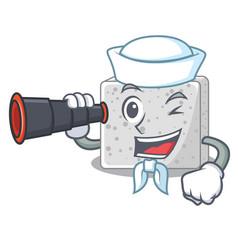 Sailor with binocular feta cheese block on plate vector