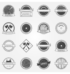 Sawmill labels and badges vector