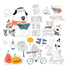 Set cute animals with autumn elements hello vector