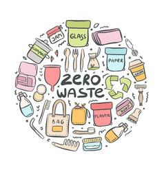 Set hand drawn elements zero waste life vector